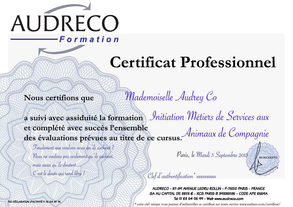 Cerfication Professionelle Audreco